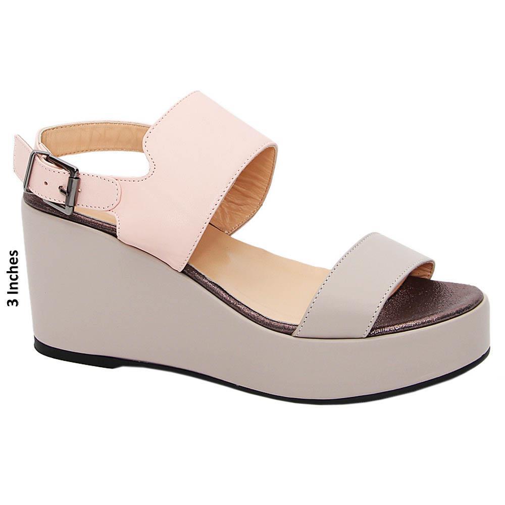 Beige Pink Elisa Tuscany Leather Wedge Sandals