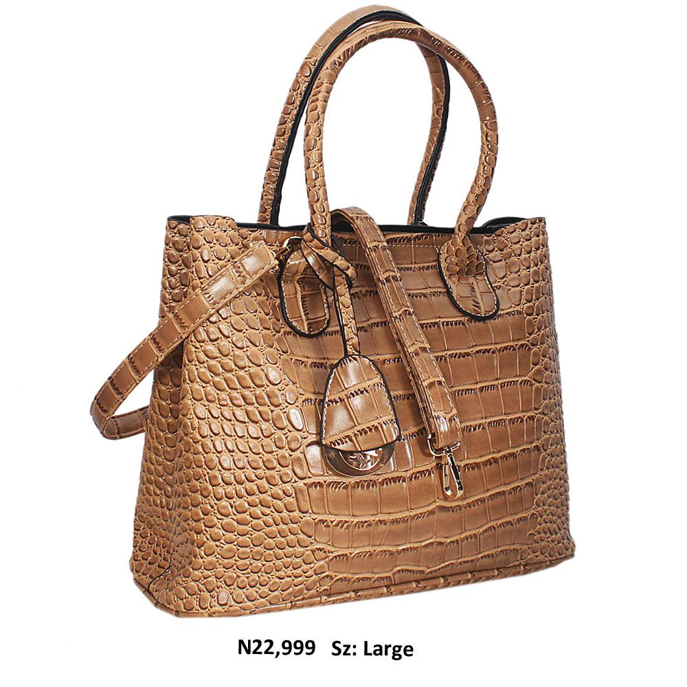 Dark Beige Croc Style Leather Tote Handbag