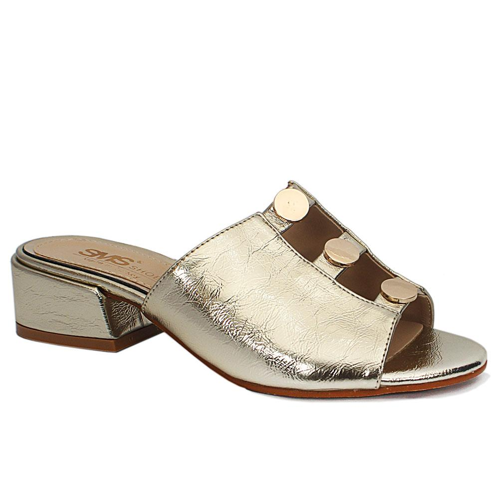 Eldora Gold Open Toe Leather Low Heel Ladies Slippers