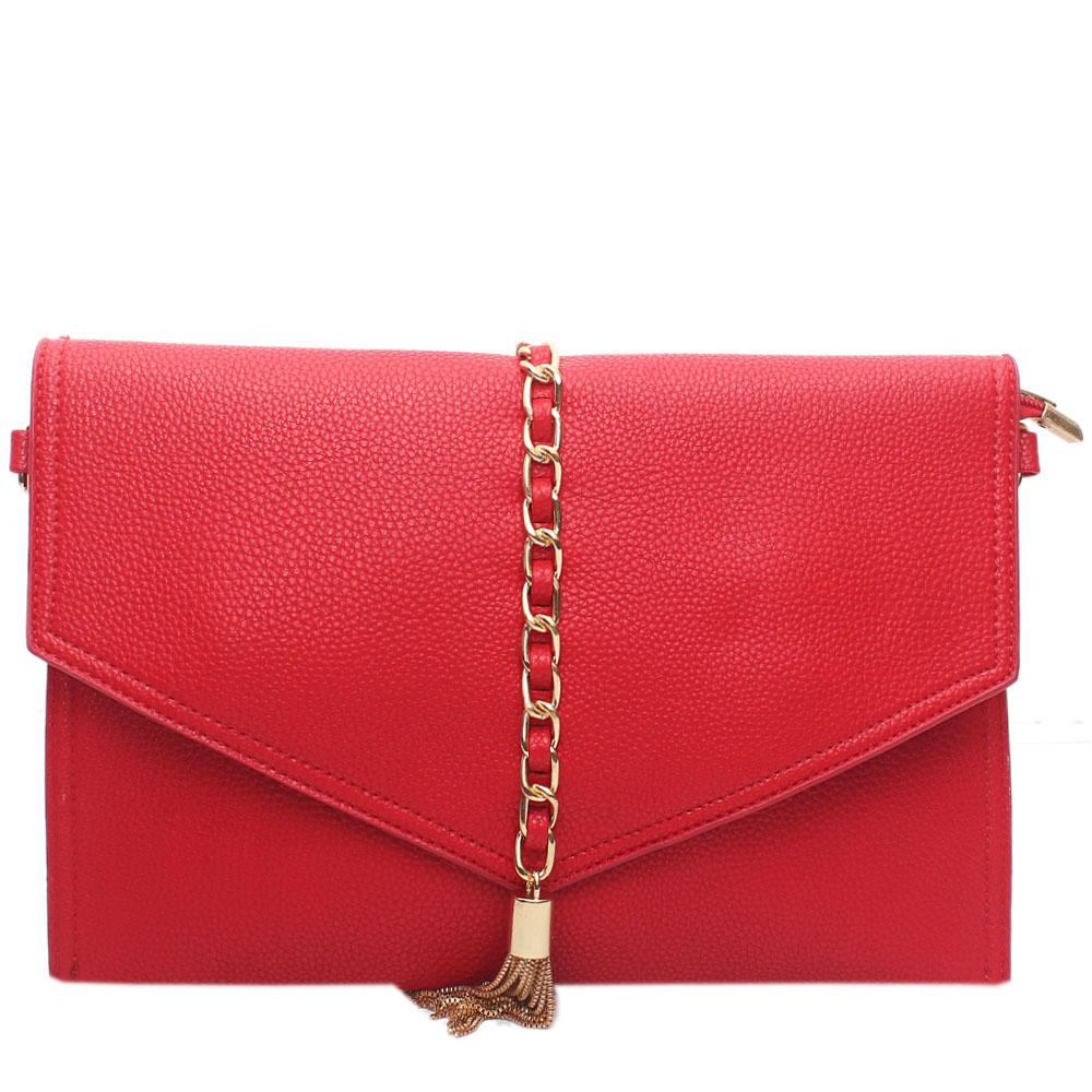 Red Leather Silvolia Flat Purse Wt Chain Tassel