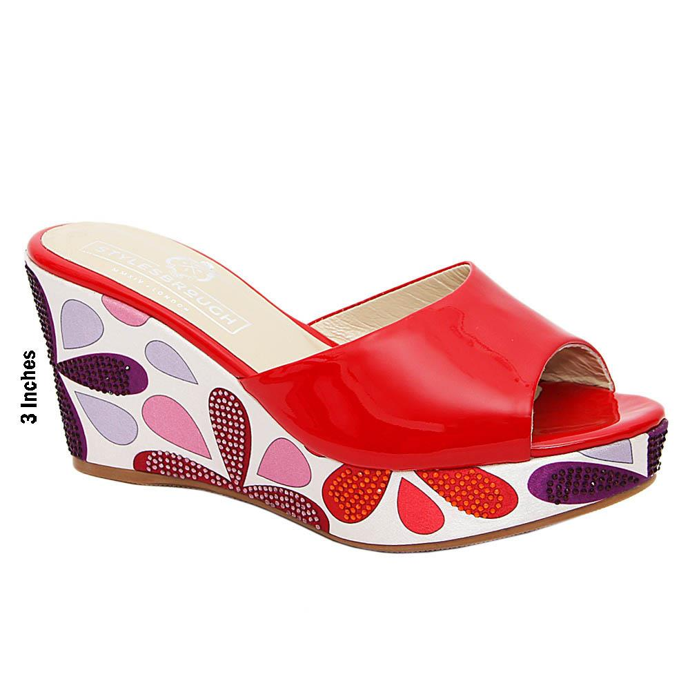 Red Mariana Studded Patent Italian Leather Wedge Heel