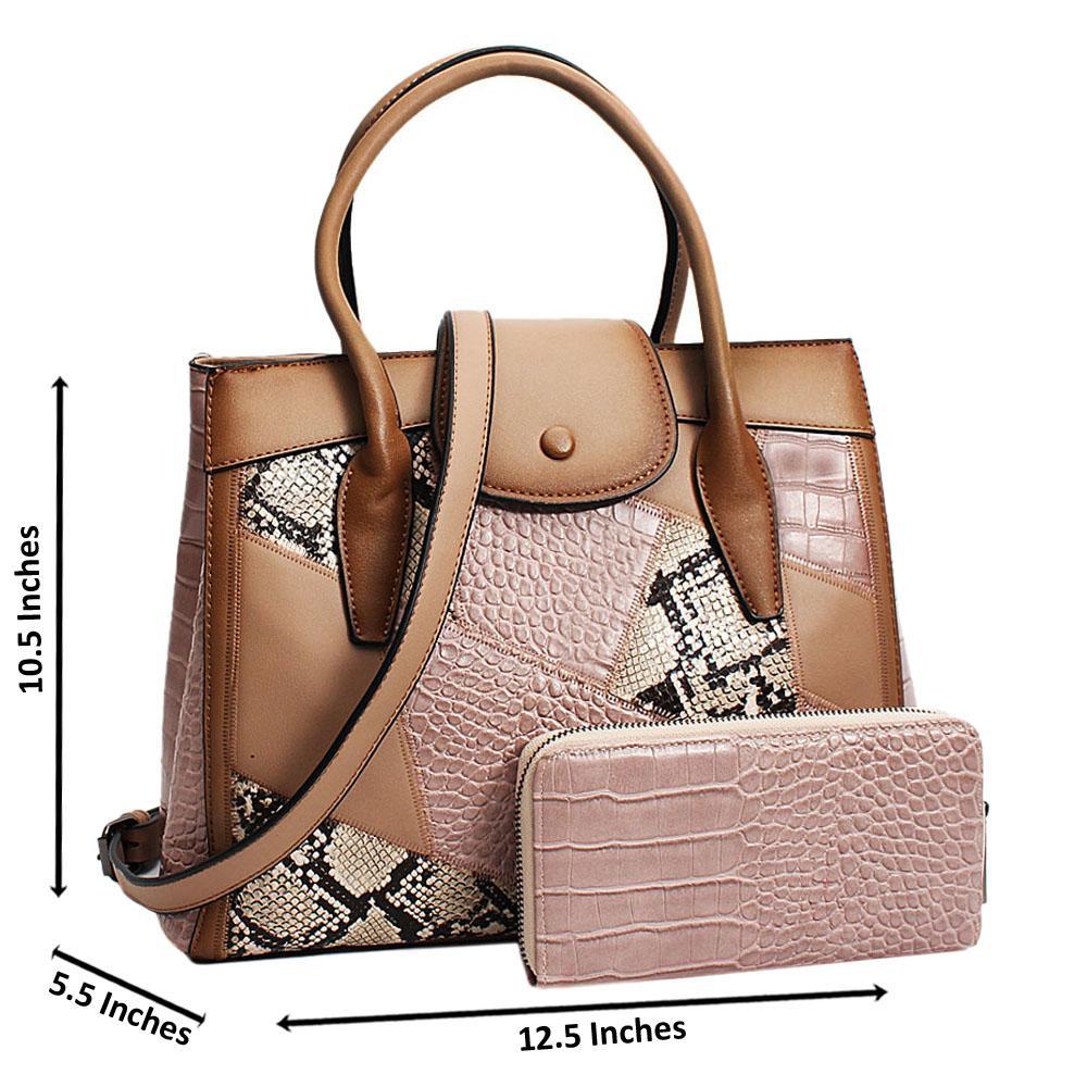 Khaki Chiara Mix Croc Snake  Leather Medium Tote Handbag