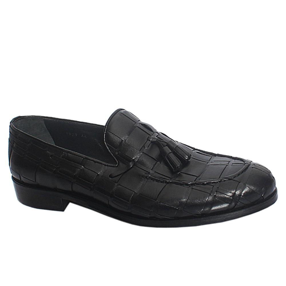 Black Woven Italian Leather Penny Loafers Wt Tassel