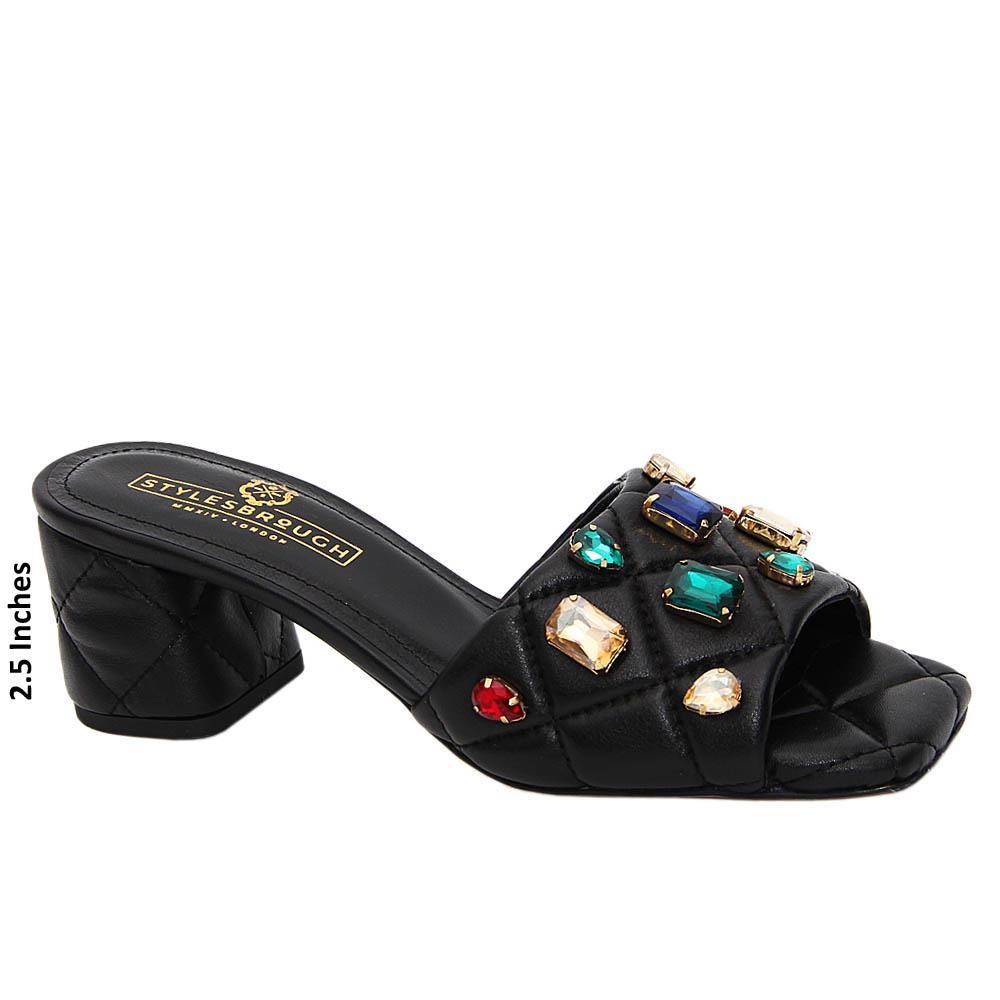 Snow Black Studded Italian Leather Mid Heel Mule