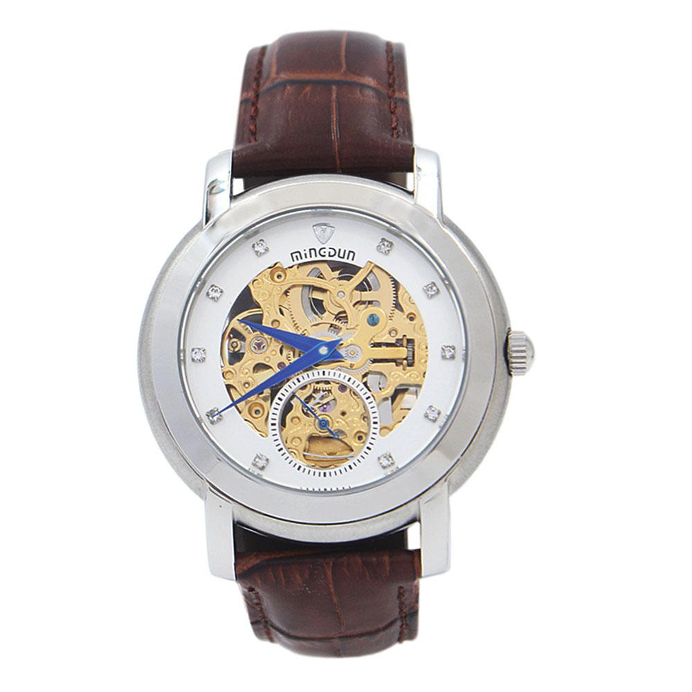 White FBrown Leather Automatic Skeletal Watch
