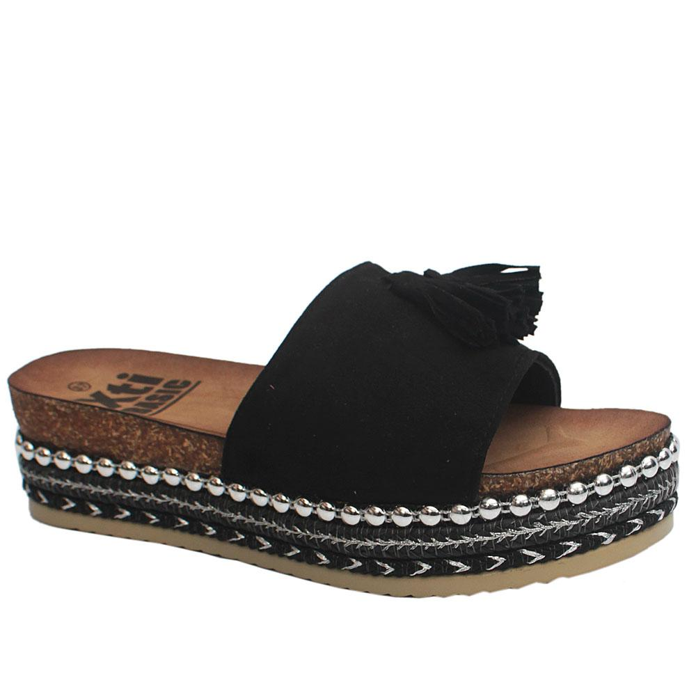 Xti Black Suede Platform Slip on Slippers
