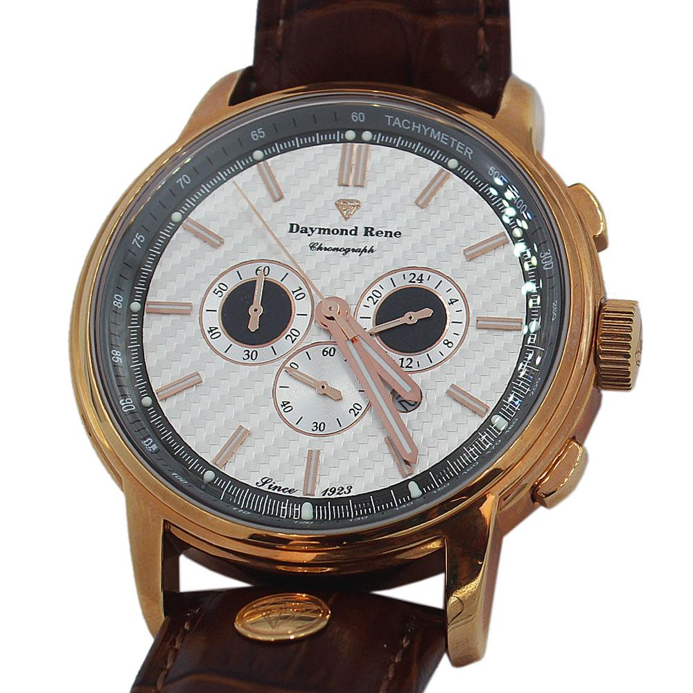 DR 3ATM Rose Gold Brown Leather Chronograph Watch