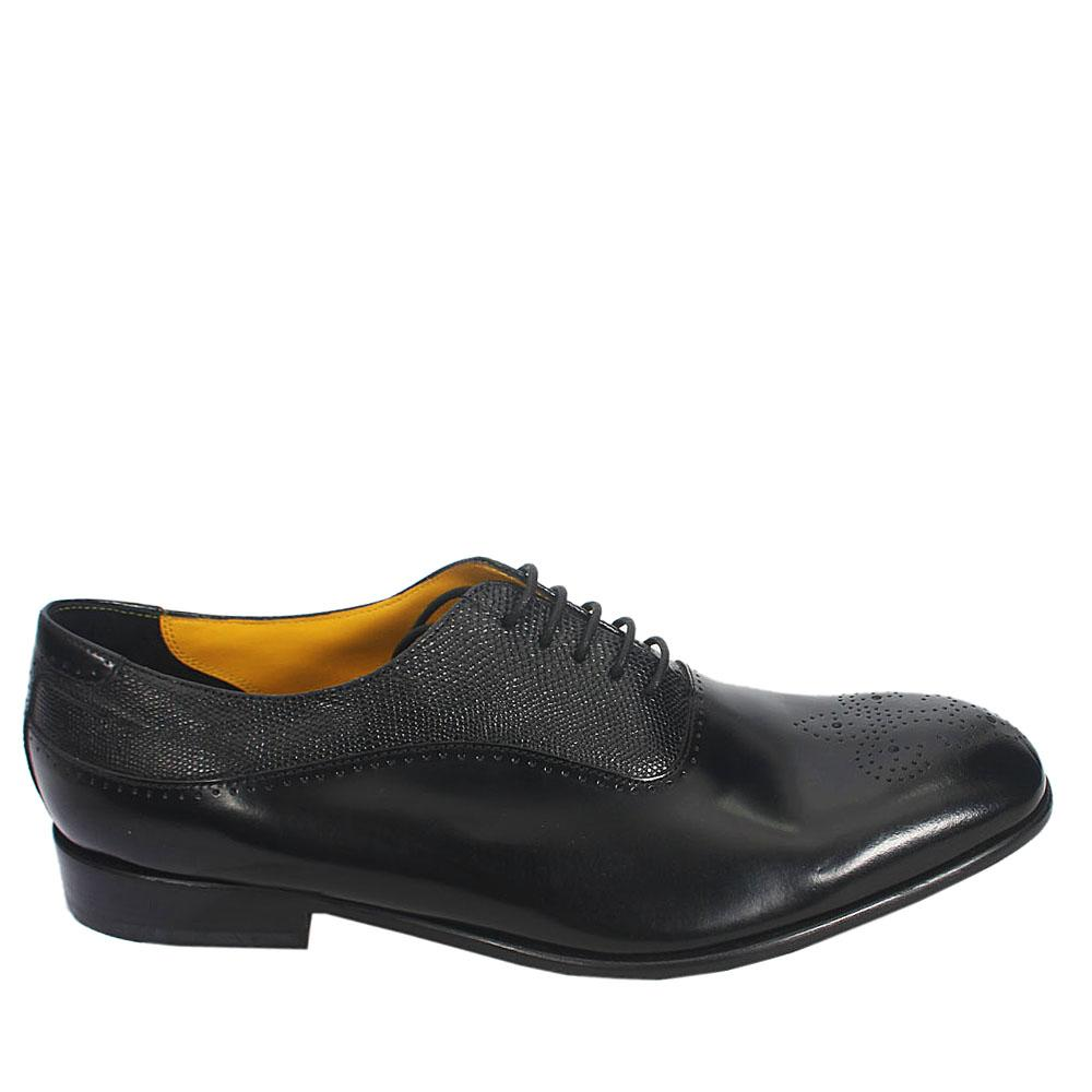 Black Jeffery West Leather Men Oxford Shoes