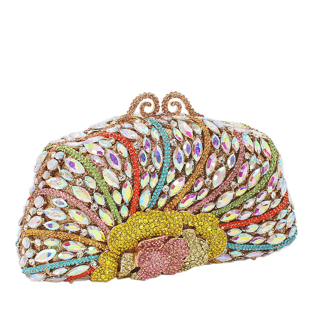 Multicolor Wet Petals Diamante Crystals Clutch Purse
