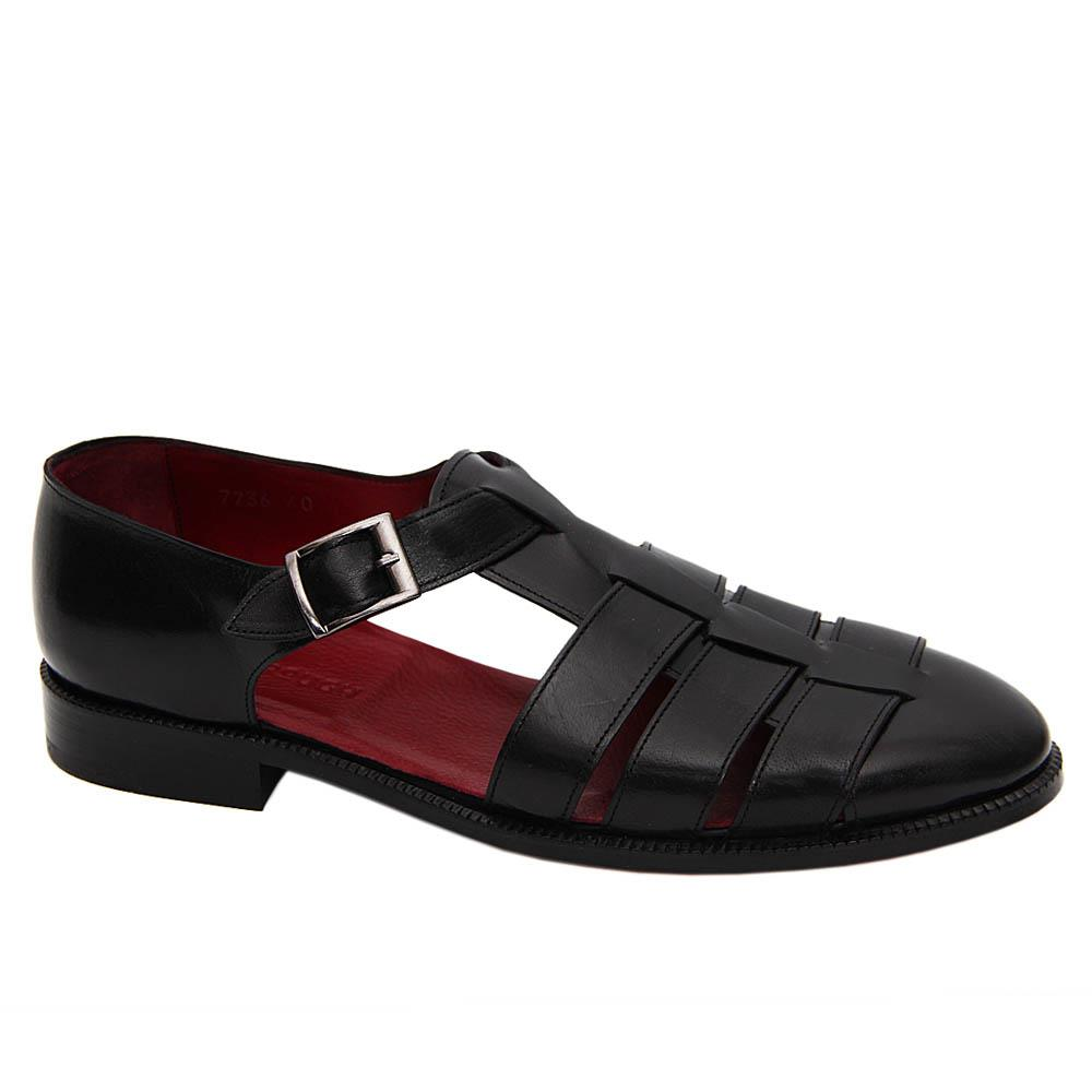 Black Churchill Italian Soft Leather Fisherman Sandals