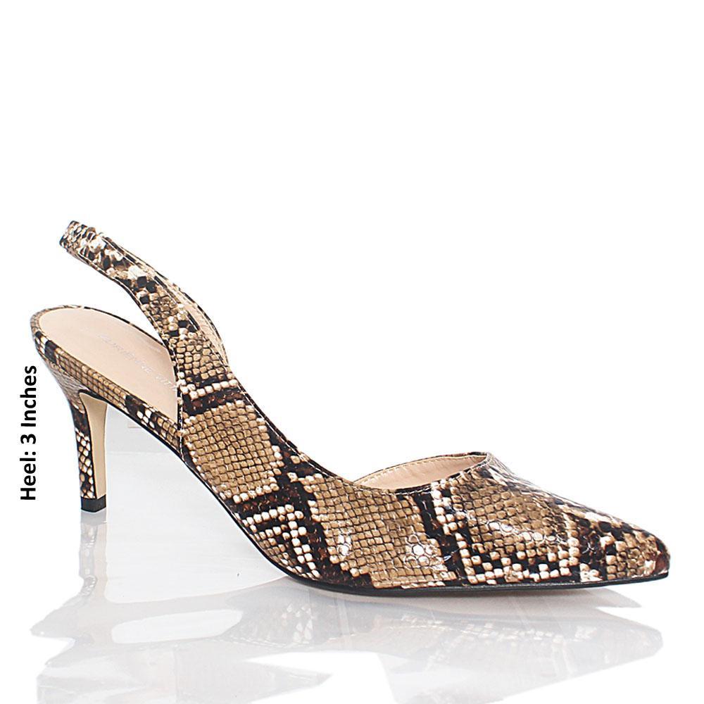 Brown Snake Skin Styled Leather Heel