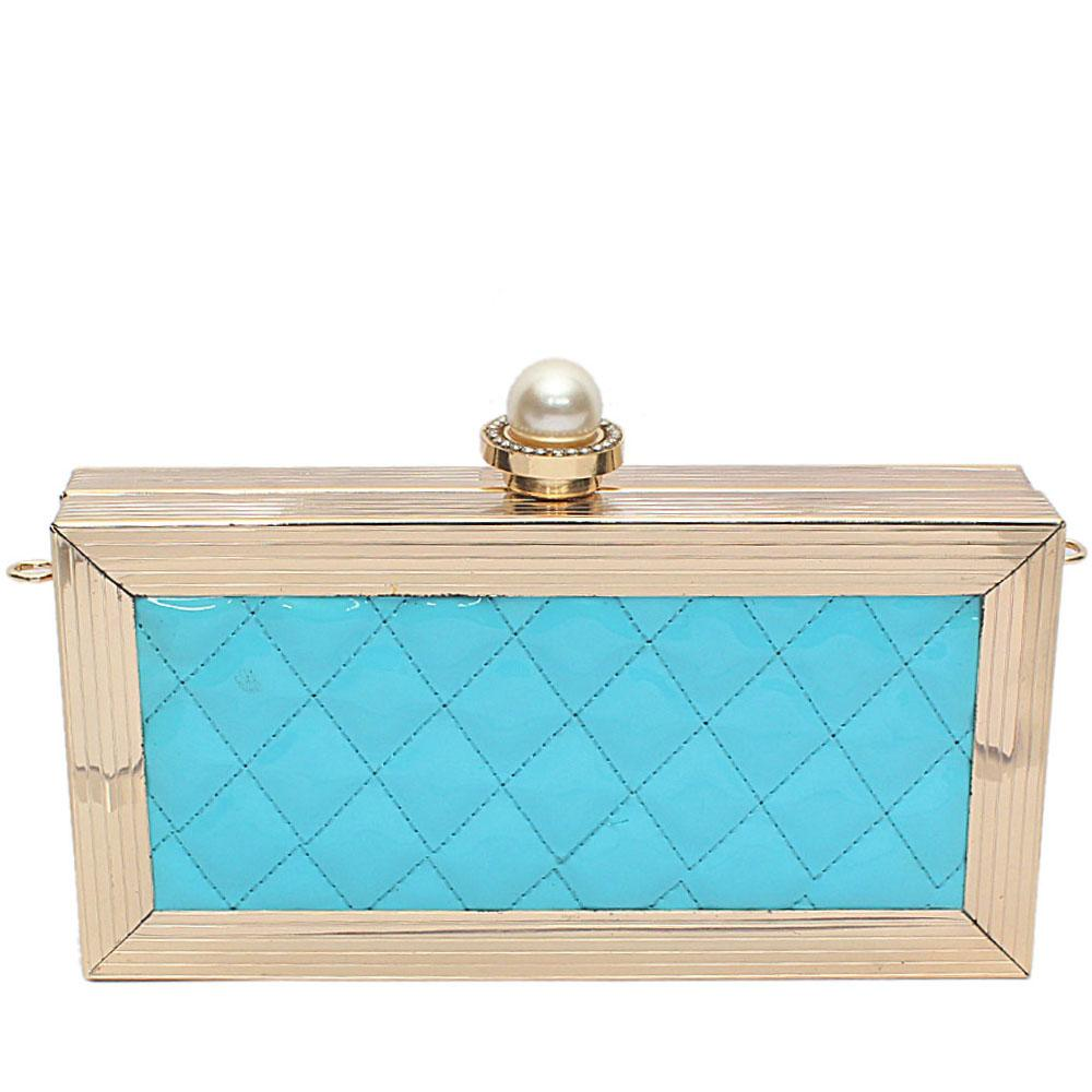Sky-Blue Gold Steel Premium Hard Clutch