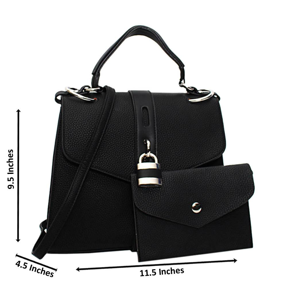 Black Clara Leather Medium Top Handle Handbag