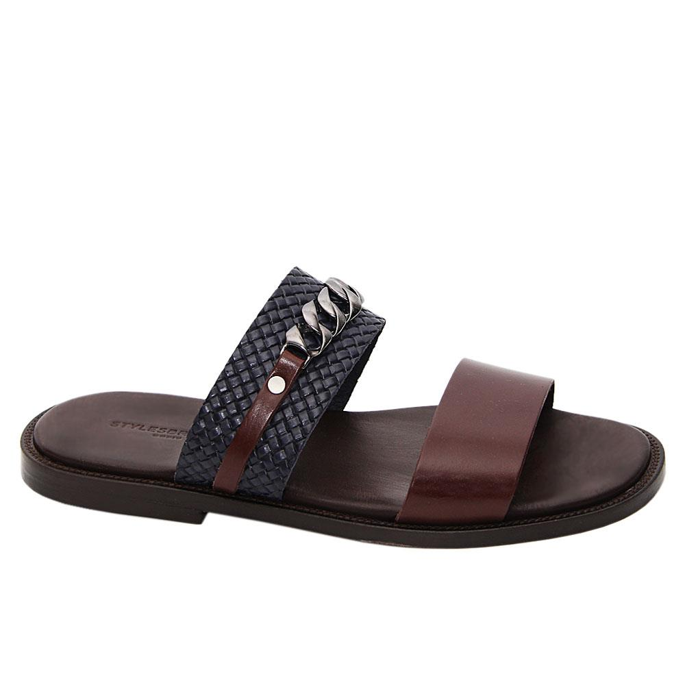 Coffee Navy Bautista Italian Leather Slippers