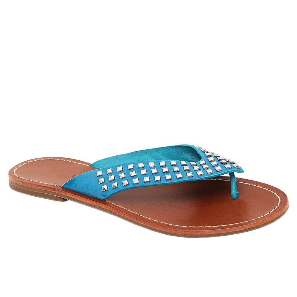 Blue Alexa Studded Leather Women Flat Slippers