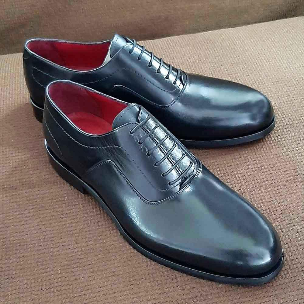 Black Amante Italian Leather Men Oxford Shoe