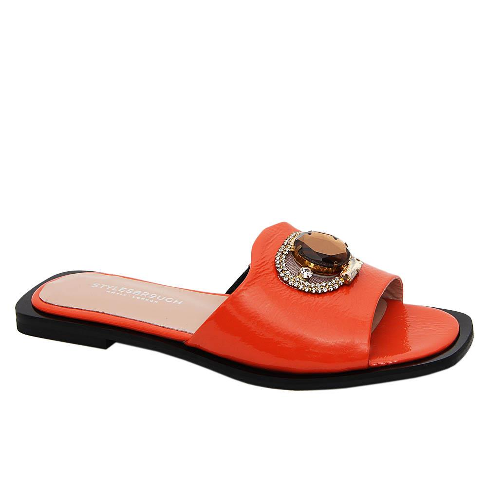 Orange Aretha Tuscany Patent Leather Women Flat Slippers