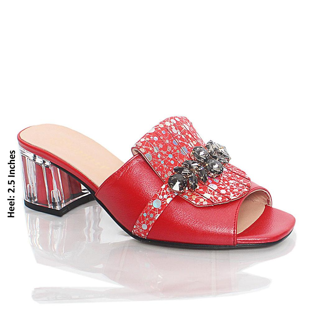 Red Nelle Shiny Italian Leather Mule