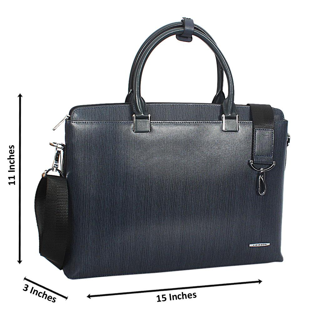 Blue Cowhide Leather Briefcase