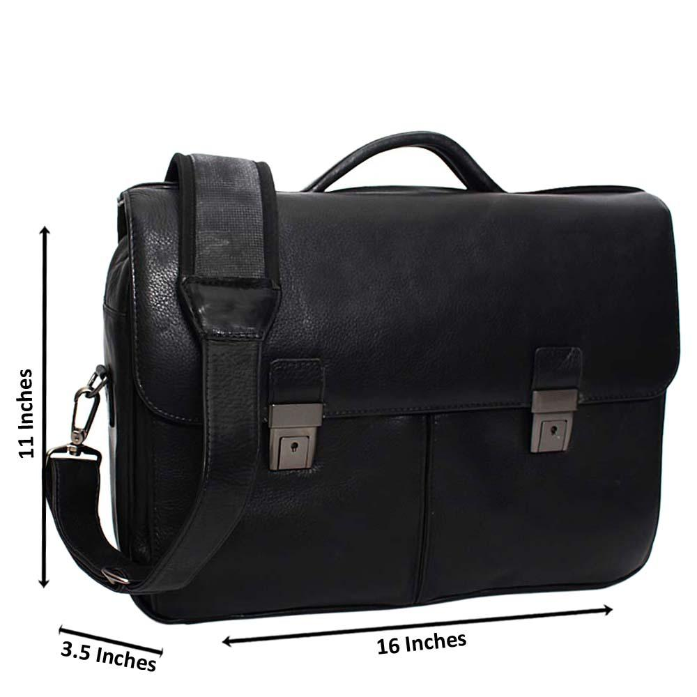 Black Smooth Patterned Leather Briefcase