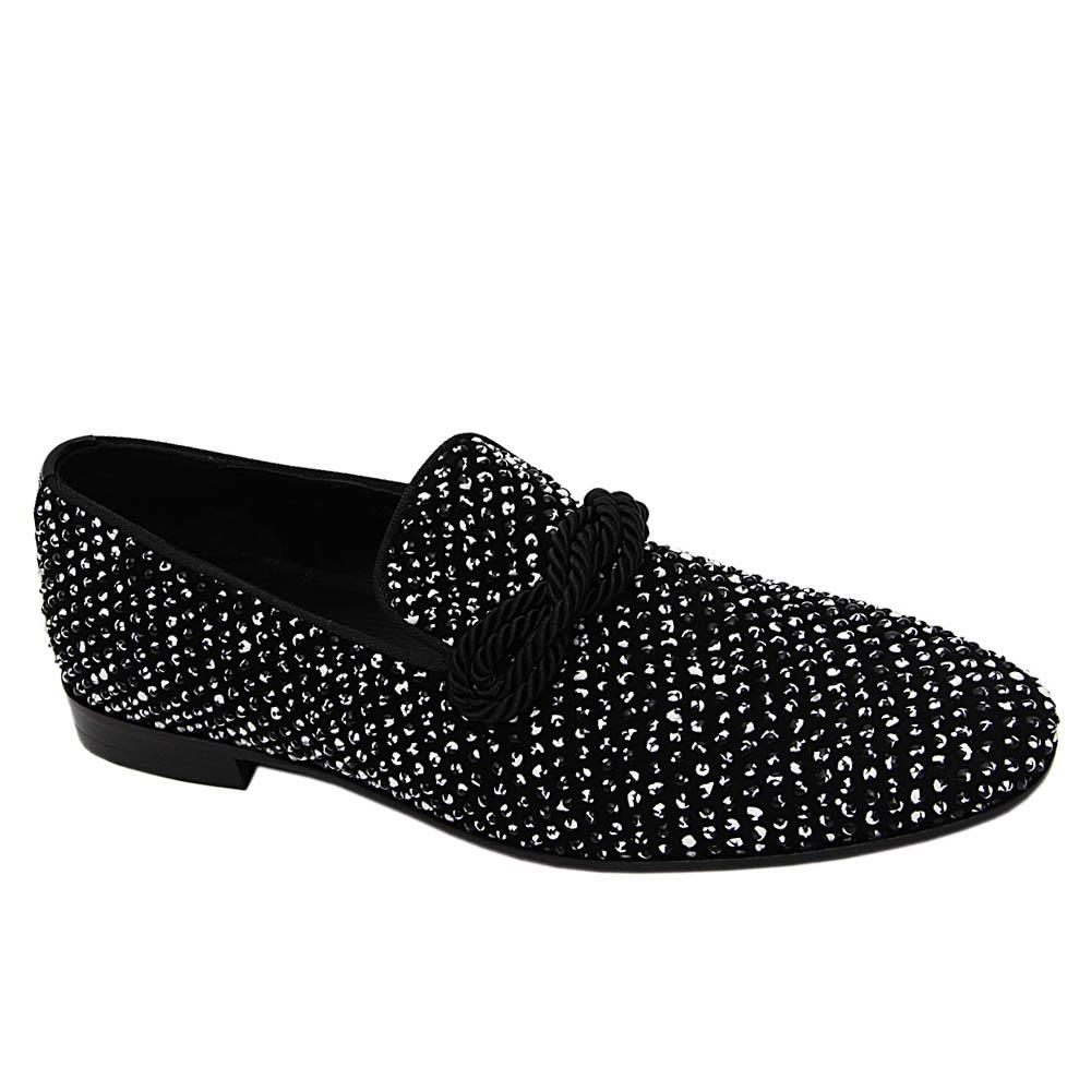 Black Roberto Pearl Studded Italian Leather Loafers