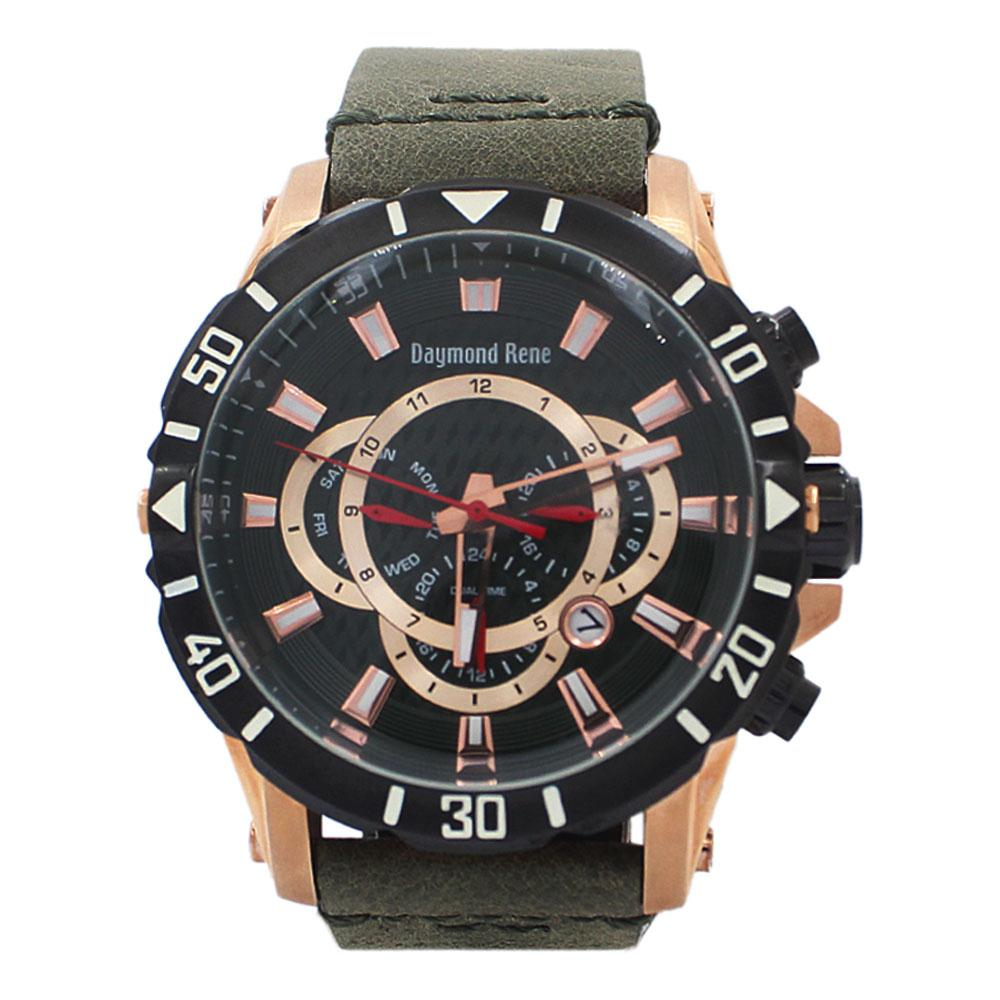 Rose Gold Green Leather Chronograph Watch
