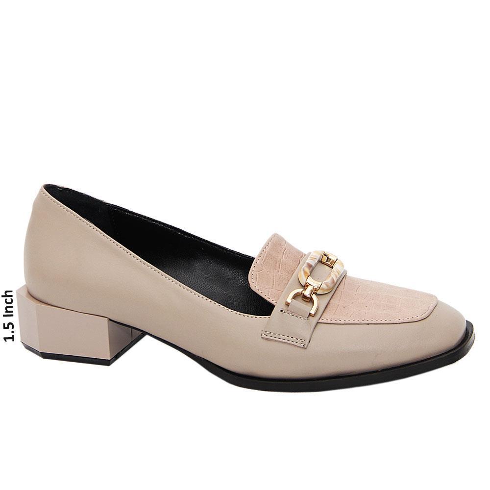 Khaki Aurora Tuscany Leather Low Heel Pumps