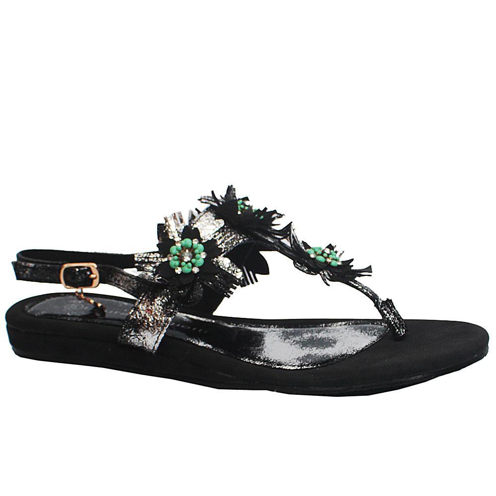 Black Floral Design Flat Sandals