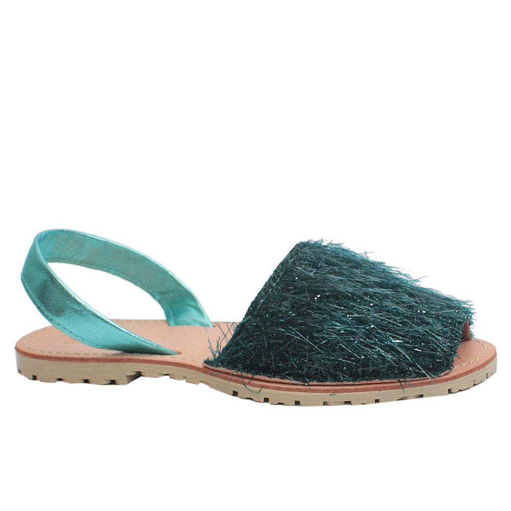 Green Shimmering Leather Peep Toe Flat Sandals