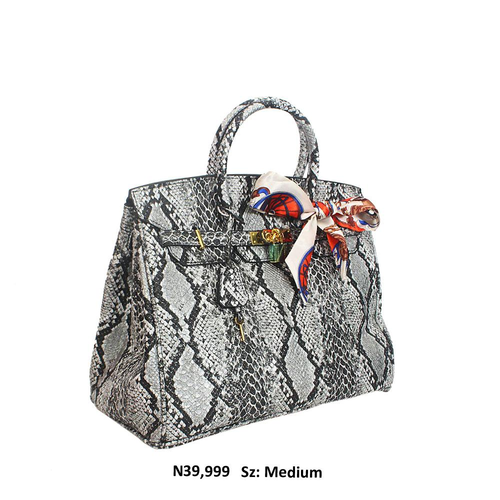 Silver Black Snake Skin Style Leather Birkin Tote Handbag