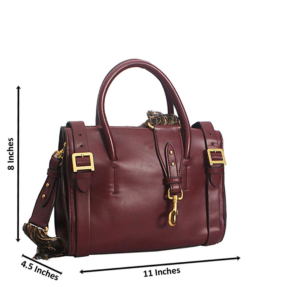 Wine Giacinta Buckle Styled Leather Tote Handbag