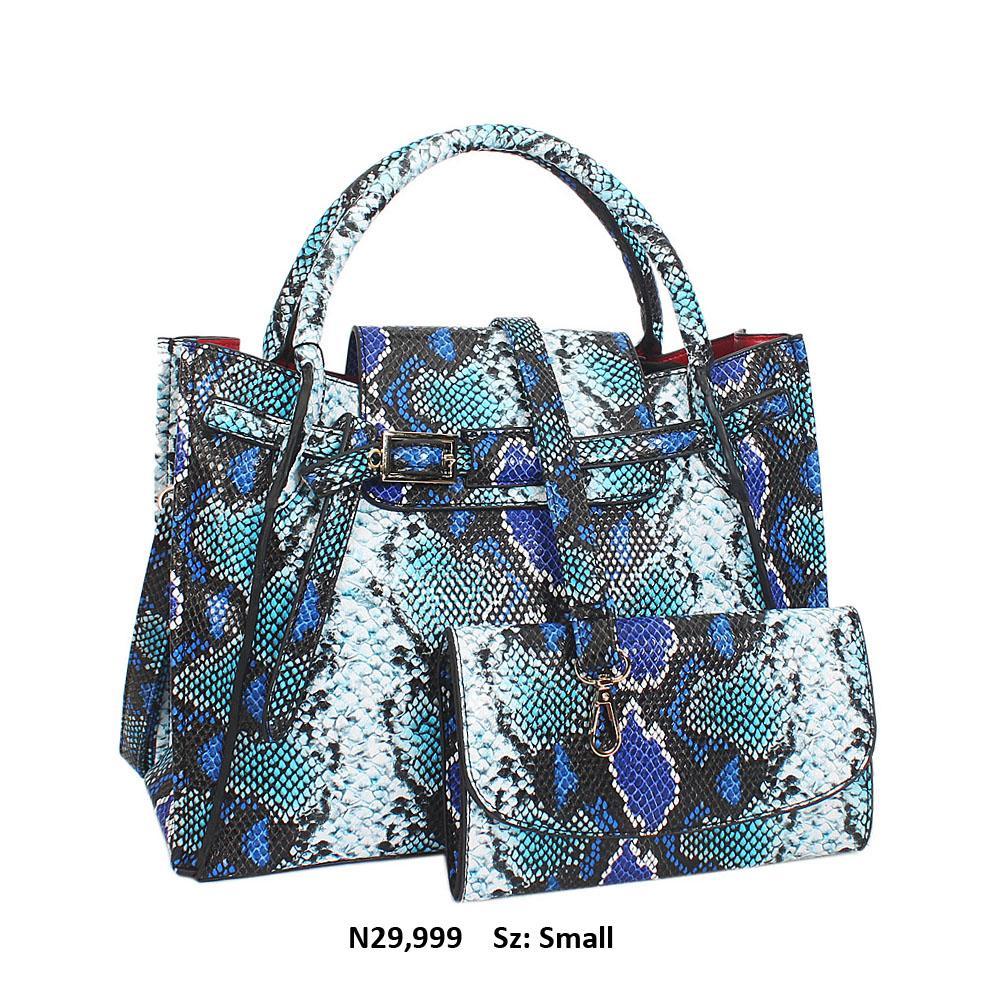 Blue Mix Olga Snake Leather Small Tote Handbag