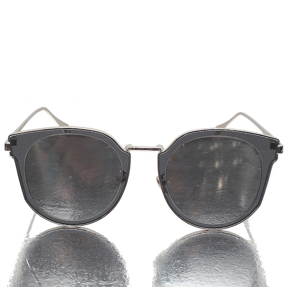 Silver Round FMirrored Lens Sunglasses