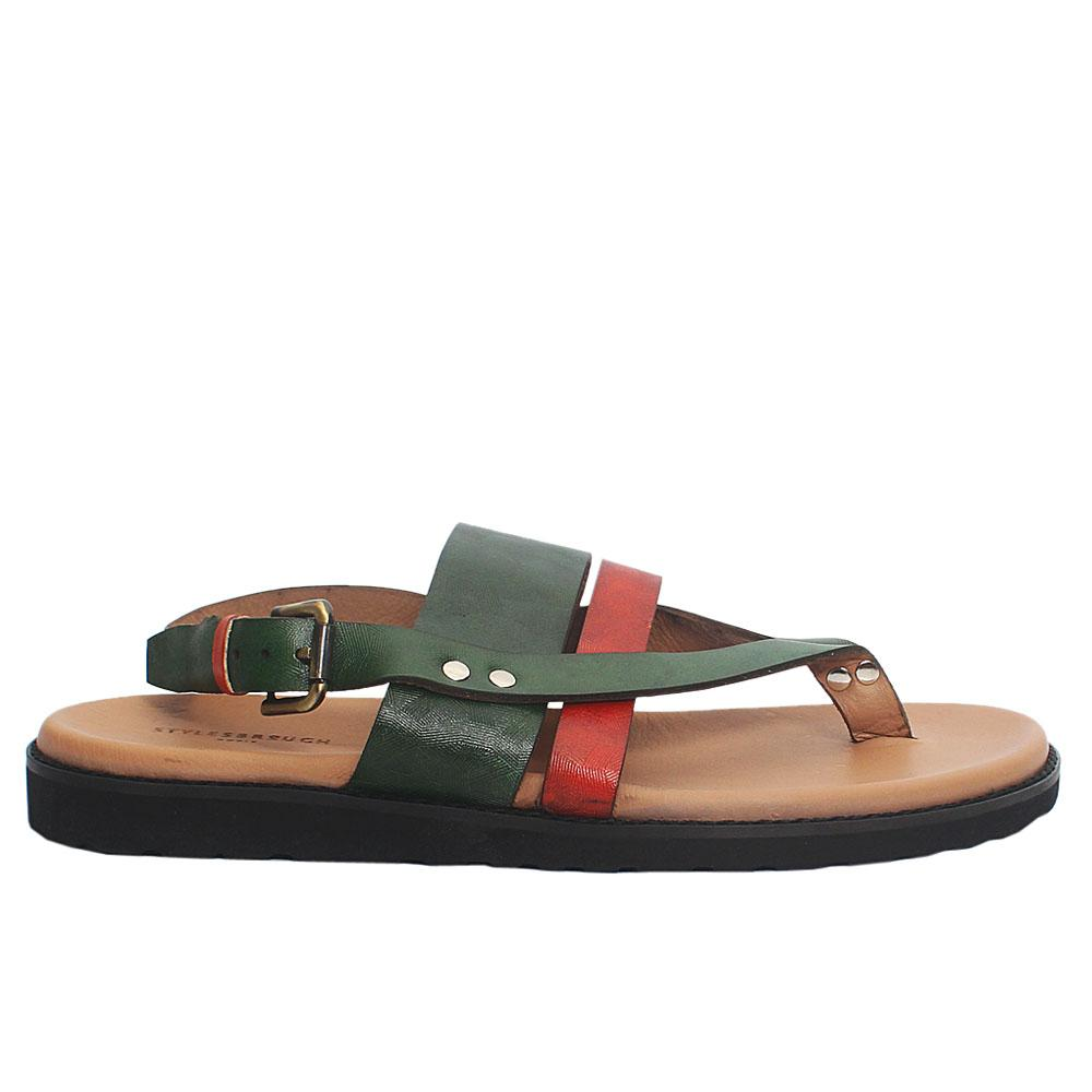 Green Orange Italian Leather Men Sandals