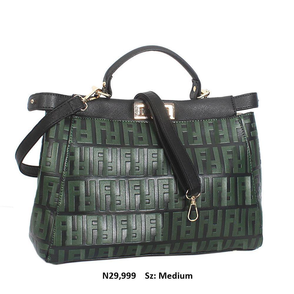 Black Green Diana Ross Embossed Leather Top Handle Handbag