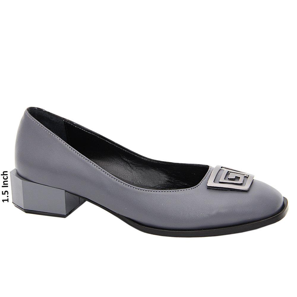 Gray Everly Tuscany Leather Low Heel Pumps