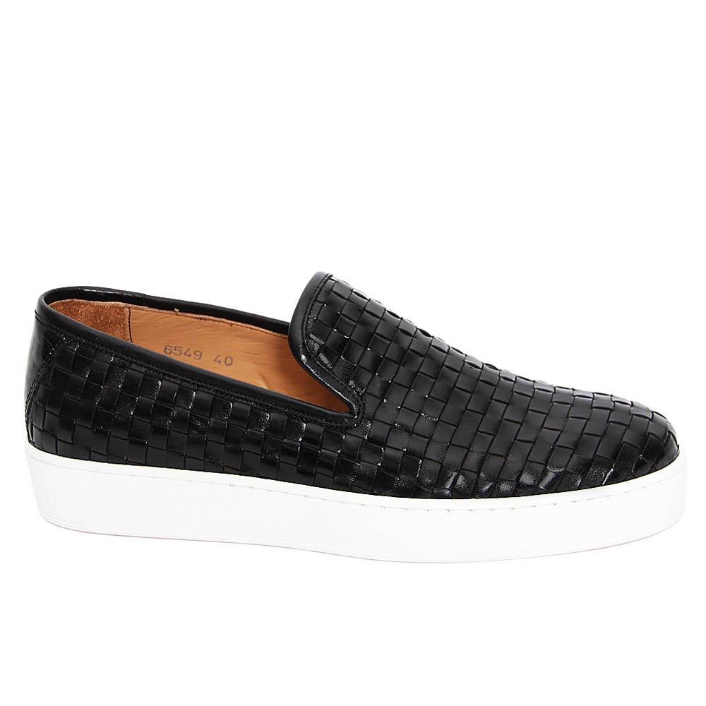Black Christianino Woven Italian Leather Slip-On Sneakers