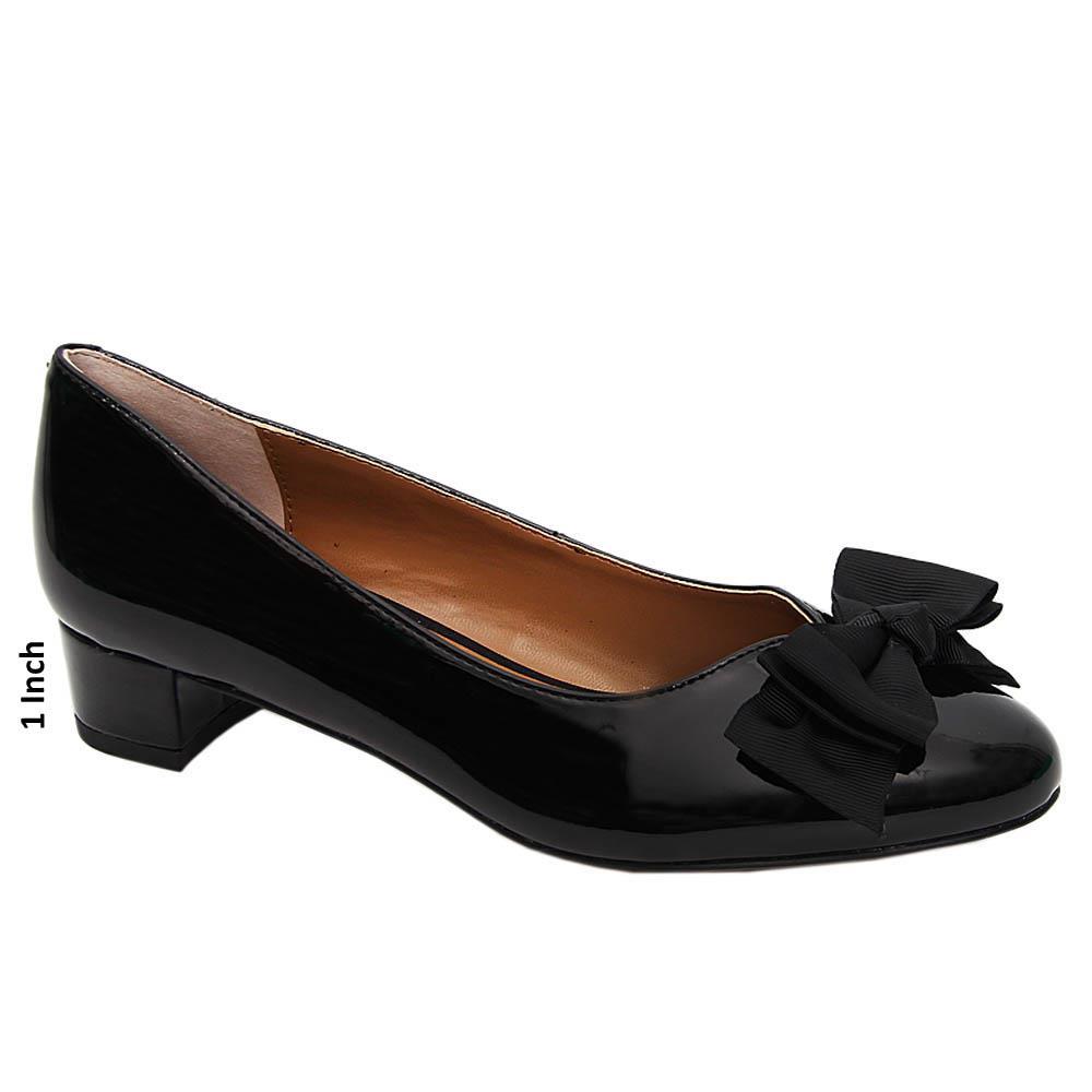 Black Kiana Patent Leather Low Heel Pumps