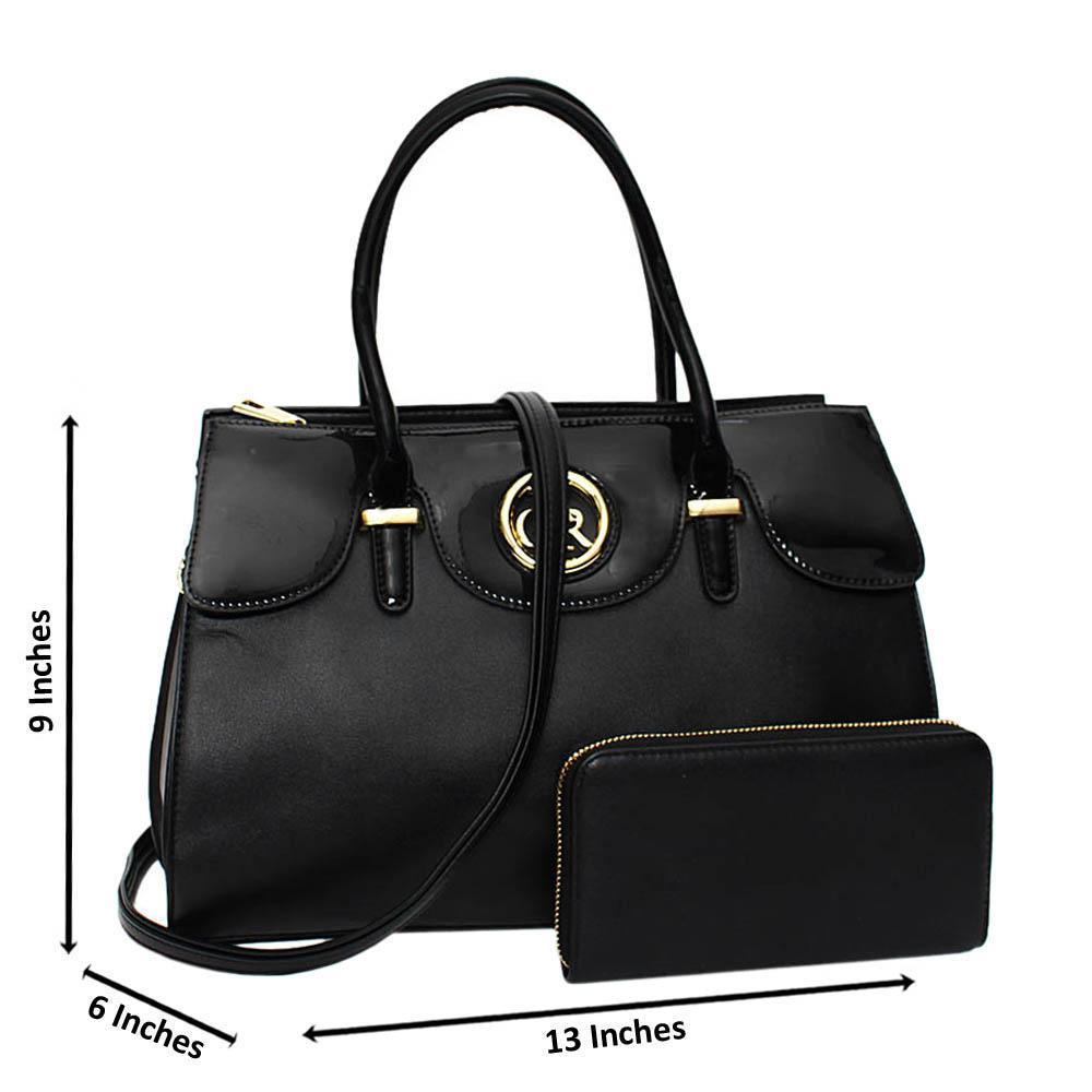 Black Alexa Mix Leather Medium Tote Handbag