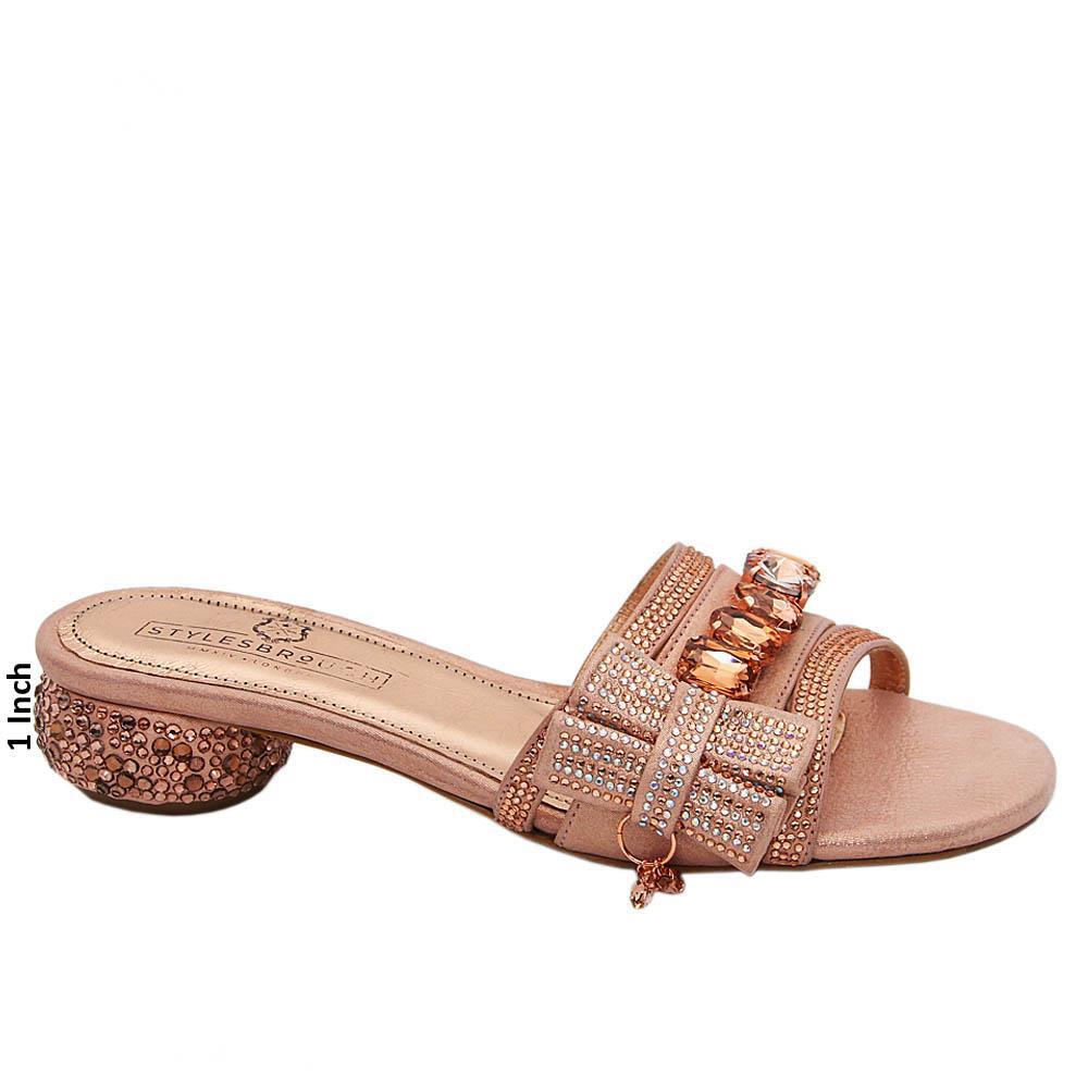 Rose Gold Maya Studded Italian Leather Low Heel Mule