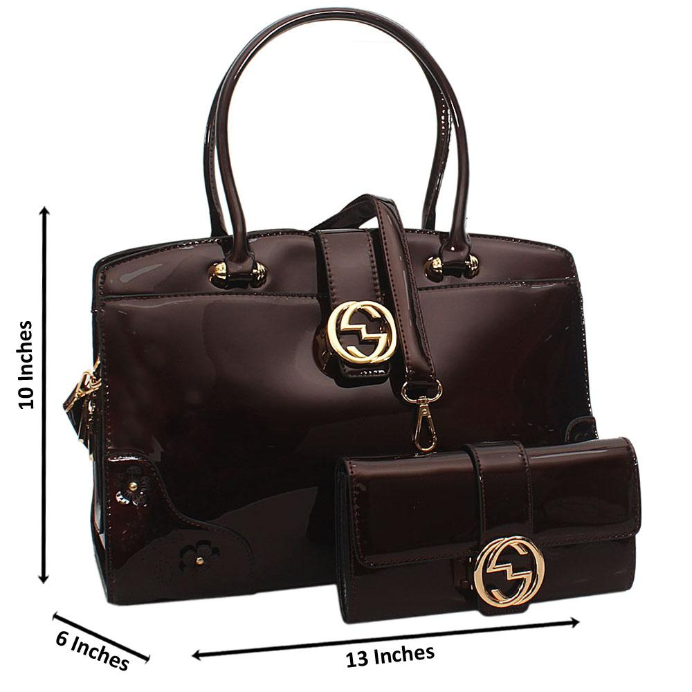 Cece Coffee Patent Leather Tote Handbag Wt Purse