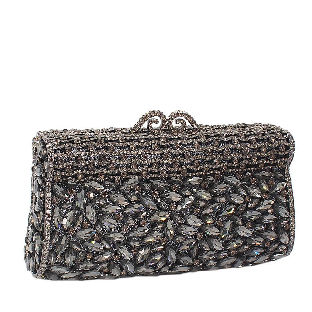 Black Diamante Crystals Clutch Purse