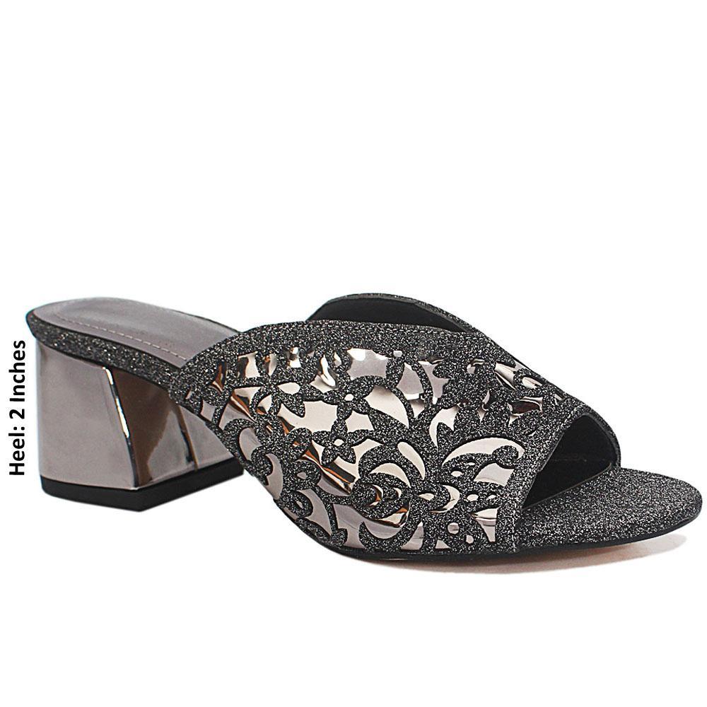 Silver Black Floral Shimmering Leather Mule