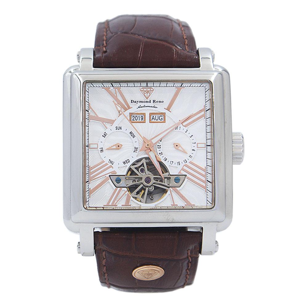 Brown Silver Leather Automatic Watch
