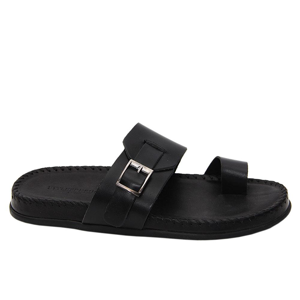 Black Damian Axel Italian Leather Comfort Sole Slippers