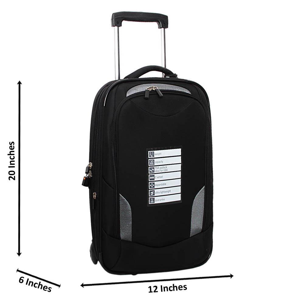 Black Hardshell Fabric 20 Inch Carry-On Luggage Wt TSA Lock