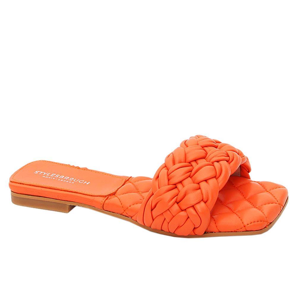 Orange Benedetta Tuscany Leather Women Flat Slippers