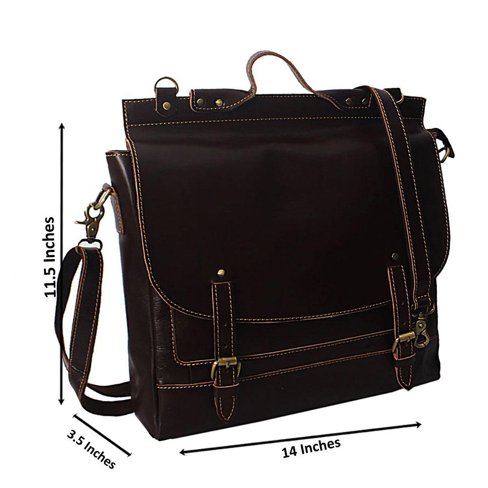 Brown Vintage Leather 3 Way Messenger Bag