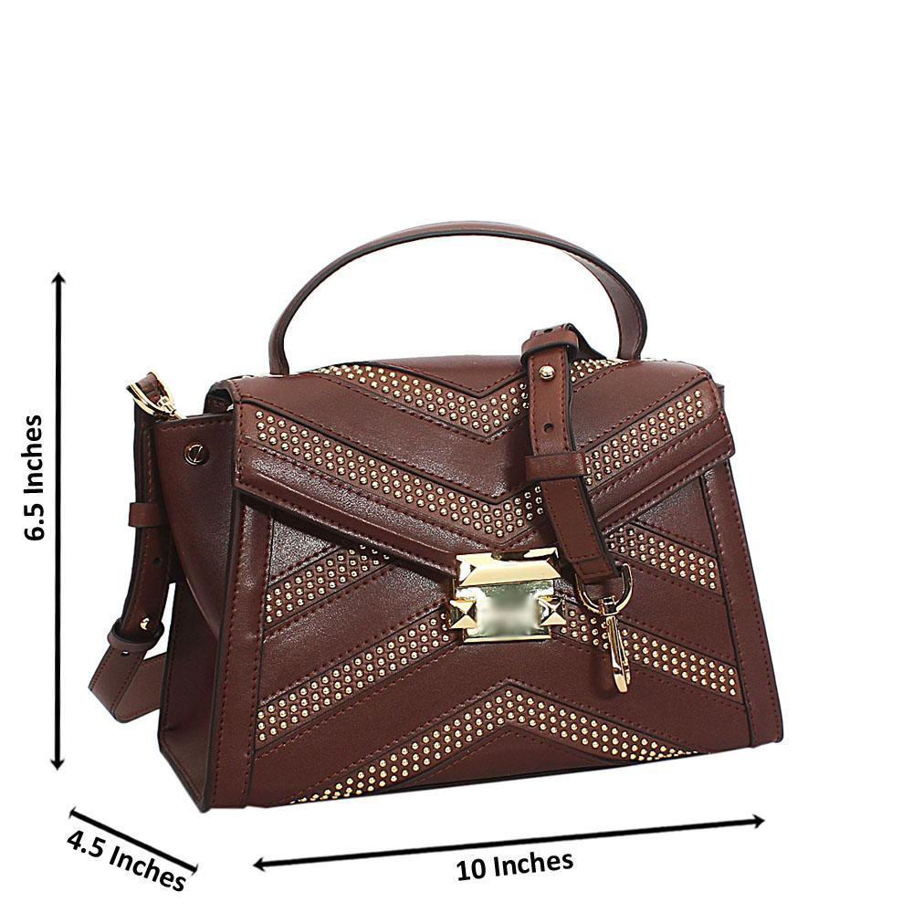 Kira Coffee Studded Cowhide Leather Mini Top Handle Handbag