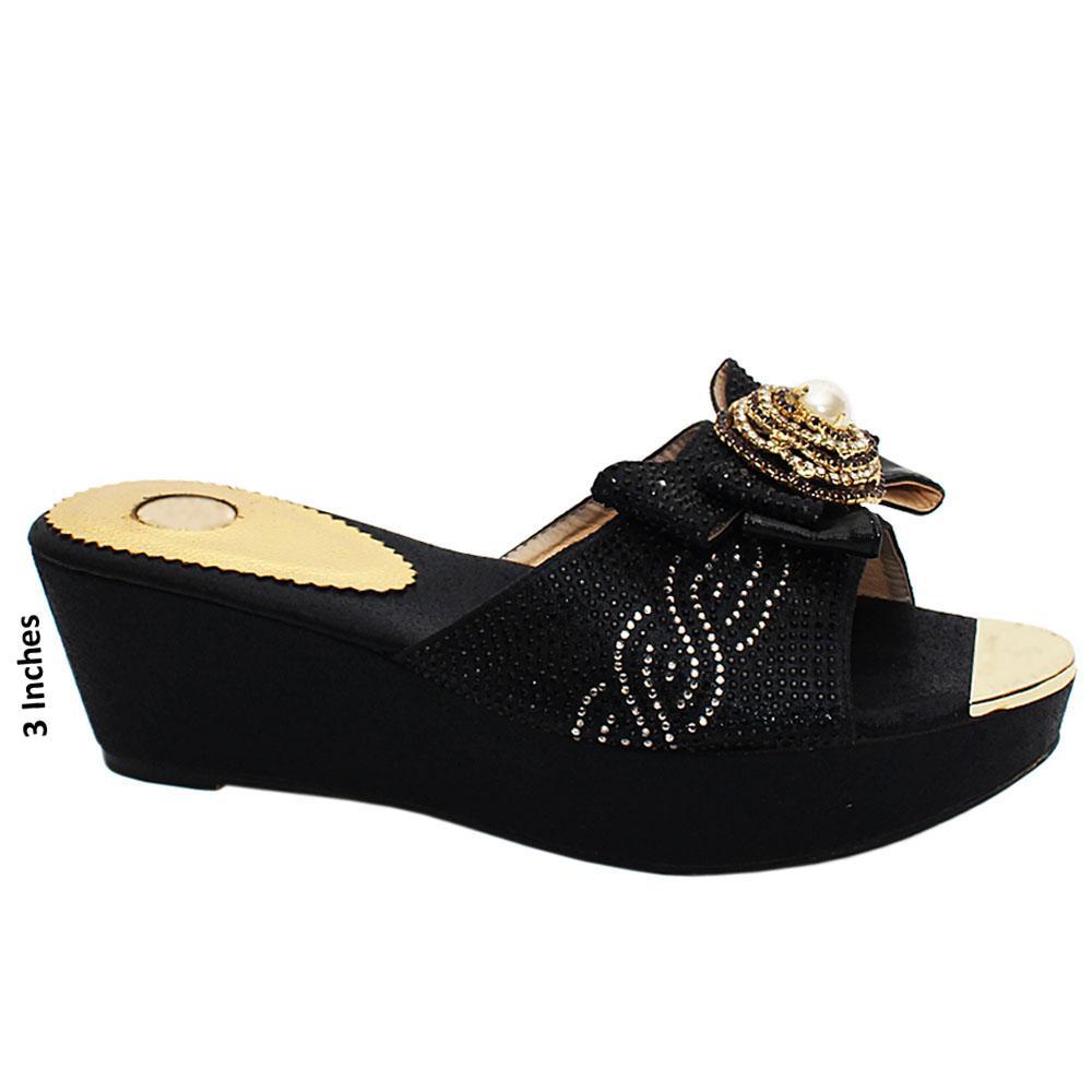 Black Megan Studded Leather Wedge Heels